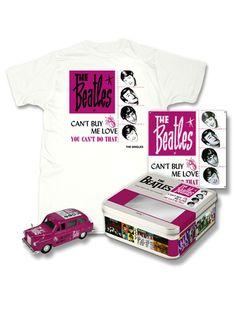 """Cofanetto da collezione Beatles """"Can't Buy Me Love"""", contenete   - Un taxi pressofuso da collezione con l'artwork del singolo.  - Una t-shirt con l'artwork del singolo   - Una placca a muro da 7"""""""