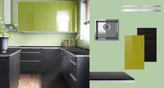AKURUM kitchen with GNOSJÖ black wood effect doors/drawers and RUBRIK ABSTRAKT green high-gloss doors