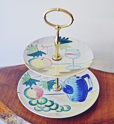 Vintage Cake Stand, Retro Pastry Stand, Mid Century Vintage Cake Stands, Wood Owls, Hand Painted Plates, Mid Century Decor, Vintage Coffee, Handmade Items, Christmas Gifts, My Etsy Shop, Retro