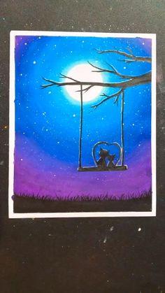 Oil Pastel Drawings Easy, Oil Pastel Paintings, Drawing With Pastels, Easy Paintings, Canvas Painting Tutorials, Diy Canvas Art, Crayon Painting, How To Paint Canvas, Crayon Art Tutorials