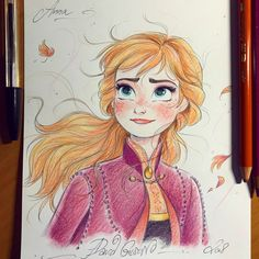 New Ideas Drawing Disney Sketches Anna Frozen Disney Character Drawings, Disney Drawings Sketches, Drawing Cartoon Characters, Cartoon Drawings, Cute Drawings, Drawing Disney, Elsa Drawing, Anna Frozen Drawing, Drawings Of Princesses
