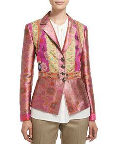 B370D Etro Fitted Button-Front Brocade Jacket, Purple