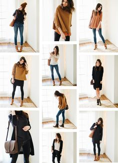 Ready to try a capsule wardrobe? Here's my approach: Rule Pare down your current clothes situation into a happy little 37 piece capsule wardrobe. Winter Outfits, Casual Outfits, Fashion Outfits, Womens Fashion, Fashion Trends, New York Spring Outfits, Capsule Wardrobe, Sweater Over Dress, Striped Leggings