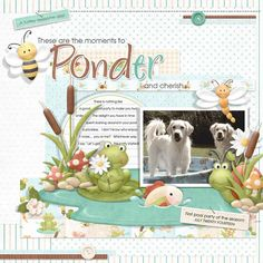 Cute digital scrapbooking layout of frogs in their pond...complete with cat tails, fish, a snail and more! FQB - On Nitwit Pond Collection by Nitwit Collections™ #digitalscrapbooking