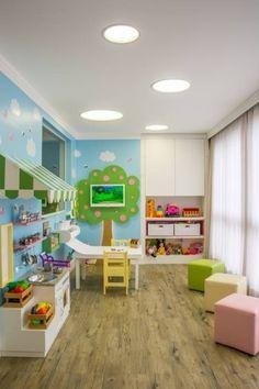 Brinquedoteca dos Sonhos - Sala de Estar Infantil: Quarto infantil Moderno por Carolina Burin Arquitetura Ltda