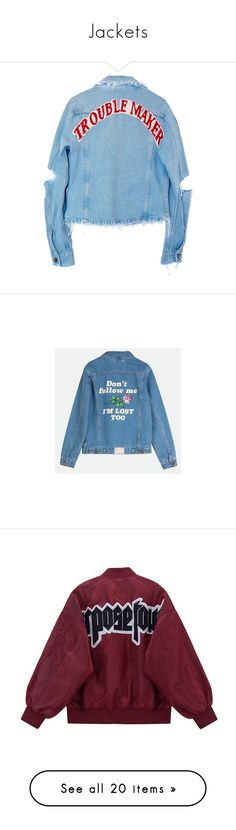 """""""Jackets"""" by sartorius-trash ❤ liked on Polyvore featuring outerwear, jackets, denim jacket, coats & jackets, blue jackets, blue denim jacket, blue jean jacket, jean jacket, yeahbunny and tops"""