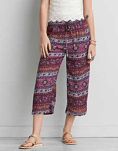 AEO Wide Leg Crop Pant , Purple | American Eagle Outfitters