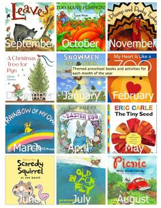 A Year of Preschool Books & Activities. This is an AWESOME list of great activities & crafts that coincide with their books! Also has related activities. Preschool Books, Preschool Kindergarten, Preschool Learning, Literacy Activities, Fun Learning, Preschool Activities, Preschool Themes By Month, Preschool Teachers, Album Jeunesse
