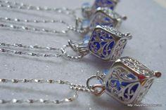 Cobalt Sea Glass Wedding Lockets by Seyshelles