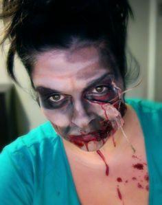 Ça me tentais de mettre ma zombie face sur pinterest :P   - Halloween make up  by Claudie Genest Halloween Makeup, Halloween Ideas, Zombie Pub Crawl, Fx Makeup, Zombies, Painting, Art, Art Background, Haloween Makeup