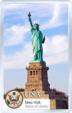 $3.29 - Acrylic Fridge Magnet: United States. New York Harbour. Liberty island.  Statue of Liberty