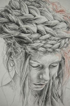 Stunning detail on this piece. I wonder if the Bakso printer could capture it. We can handle this (http://bakso.co.uk/products/bomb-2) so I would think we could.  Hair Texture Drawing Detail (by Linda Hemmersbach)