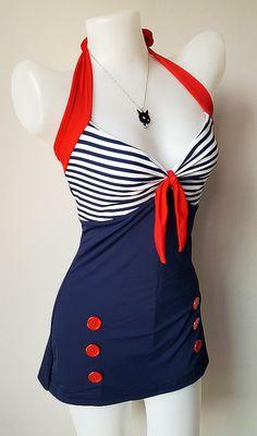 Vtg 50s Bettie Women Swimsuit in Navy Blue Red Retro Vintage Sailor Women 1950s Swimwear One Piece New