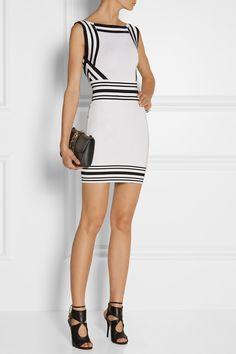Balmain|Striped stretch-knit mini dress|NET-A-PORTER.COM