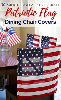 Patriotic flag dining chair covers made in 30 minutes using x flag bandana squares from the Patriotic Crafts, July Crafts, Holiday Crafts, Diy And Crafts, Crafts For Kids, Holiday Decor, 4th Of July Party, Fourth Of July, Dollar Store Crafts