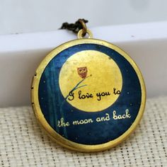 Handmade Necklace-I love you to the moon and back locket.