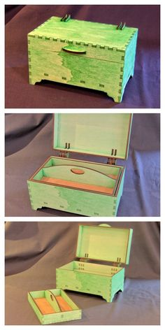 Laser cut jewellery box in #lasercut 6mm poplar ply with green stain.