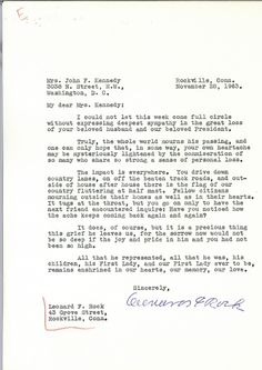 Heartfelt Condolence Letters Jackie Kennedy Received From Famous