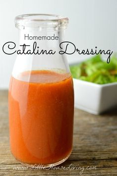 Homemade Catalina Dressing Recipe From Scratch - Homemade Catalina Salad Dressing Recipe. Yummy copycat recipe made with basic ingredients. So easy - Catalina Dressing Recipes, Salad Dressing Recipes, Salad Recipes, Catalina Recipe, Healthy Salad Dressings, Homemade Salad Dressings, Juice Recipes, Homemade Seasonings, Homemade Sauce
