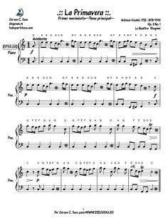 """Partitura para piano fácil de La Primavera de """"Las Cuatro Estaciones"""" de Antonio Vivaldi. Score Spring from The Four Seasons by Antonio Vivaldi Easy Piano Sheet Music"""