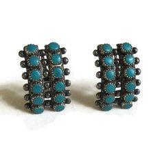 Vintage Snake Eyes Sterling Silver and by MyVintageJewels on Etsy #sterlingearrings #turquoiseearrings #jewelry