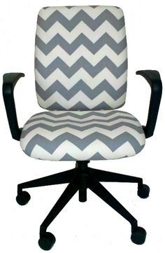 Great office chair upholstered in a gray chevron fabric Would be cute with a monogram