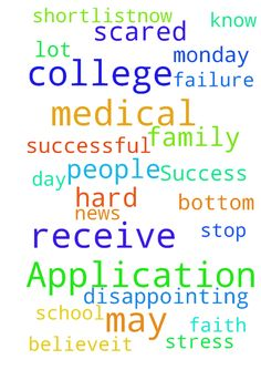 Success in College Application -  Monday will be a hard day as I may receive news from college. Am under a lot of stress and scared of failure and disappointing my family and myself. I know I am at the bottom of the shortlistnow for medical school applications but I cannot stop having faith and believeit is how I can help people. Please pray that I will receive a place in the medical programme. May I be successful in the Lord.  Posted at: https://prayerrequest.com/t/u8D #pray #prayer…