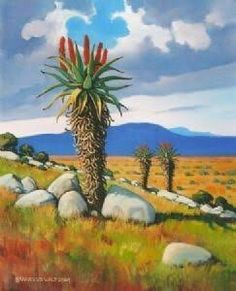 Landscape Art, Landscape Paintings, Landscape Photography, Protea Art, Africa Painting, Jungle Scene, African Art Paintings, South African Artists, Cactus Art