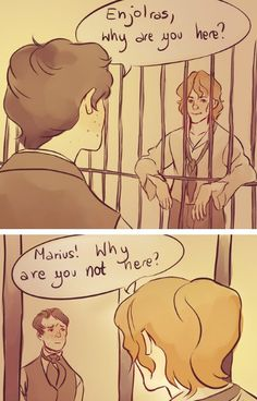Enjolras in jail.  I love this.  It's so true to his character, and I think this just might be one of my favorite Les Mis pictures ever.