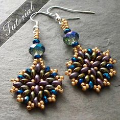 This is a tutorial and beading pattern for my Nebula earrings. Ive created step by step instructions with detailed diagrams. This is a great last minute gift idea! You can purchase this pattern and whip up the earrings in very little time and delight your friends and family with wonderful, custom color earrings using either Twin or SuperDuo beads. This is my original design that Ive taught to my students locally. You will receive compliments! ***This is a beginner level pattern. It is…