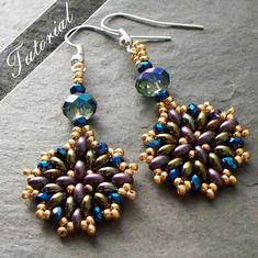 Beading Tutorial Twin Bead Earrings pattern  by VCArtisanOriginals