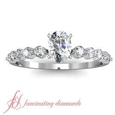 1 Ct Oval Shaped Petite Diamond Flawless Engagement Ring 14K WHITE GOLD GIA #FascinatingDiamonds #SolitairewithAccents