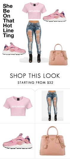"""""""She be on that hot line ting what about that hotline bling❓❓❓❕"""" by feedbacker1 ❤ liked on Polyvore featuring NIKE and Prada"""