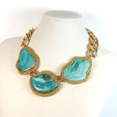 Statement necklace turquoise green geode agate by EzzaExclusive, $139.00