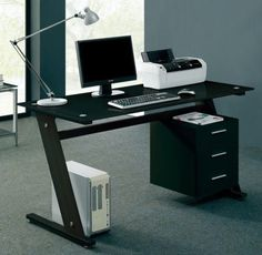 Black Computer Desk PC Table Office Furniture Glass Top Modern Home Stylish Big