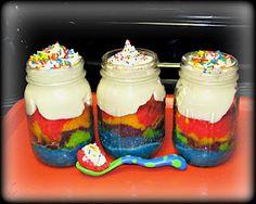 Tye-dye cake... in a jar! Kids will dig ;)