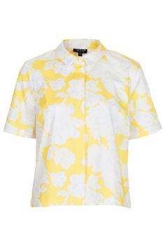 Woven boxy shirt with all over floral pattern