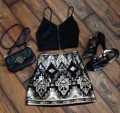 Vegas outfit!  Aztec skirt   crop top   tory burch   Michael kors