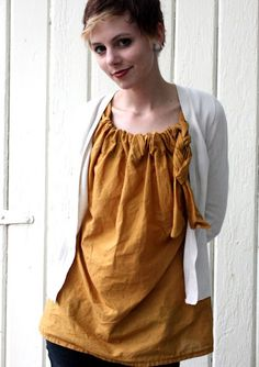 """This is one cute and bright little woman. This is from her """"Talk To The Trees"""" blog.  How To Make An Easy and Versatile Shirt (For Cheap!)"""