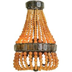 """Currey and Company Lana 16"""" High Apricot Wall Sconce ($740) ❤ liked on Polyvore featuring home, lighting, wall lights, orange, sconces, orange glass lamp, beaded lamp, orange lamp, glass basket and glass lamps"""