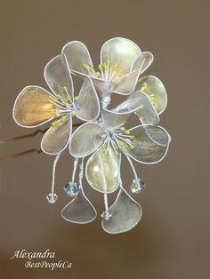 OOAK Japanese Kanzashi Hair Stick Pin Jasmine Wedding Accessories. Gold Transparent Sparkling Flowers Wire wrapped.