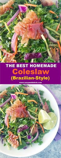 The Best Homemade Coleslaw (Brazilian-Style) - Brazilian Homemade Coleslaw (kale slaw) is a fresh, colorful salad made with kale, onions, and cole - Raw Cabbage, Cabbage Salad, Eating Vegetables, Mixed Vegetables, Easy Salad Recipes, Good Healthy Recipes, Kale Slaw, Healthy Side Dishes, Healthy Salads