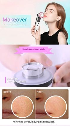 Ultrasonic Facial Cleanser Sonic Vibrating Ultrasound Face Cleansing Device Home Use 7 Colors Photon Smudged Makeup, Beauty Tips For Glowing Skin, Minimize Pores, Skin Toner, Facial Cleansing, Facial Treatment, Skin Elasticity, Blackhead Remover, Acne Skin