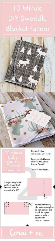DIY Baby Swaddle Blanket Pattern. Easy 10 MInute baby blanket for beginners.