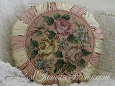 1 of 4 light rose vintage needlepoint tuffets at www.cestchouettehome.com