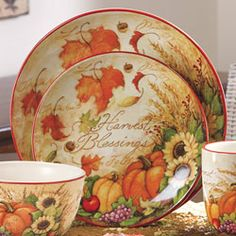 Tabletop & Kitchen Accents - Harvest Blessings Ceramic Dinnerware, Touchstone