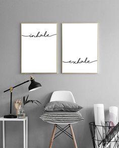 Inhale Exhale Print Pilates Art Meditation by PrintsMiuusStudio