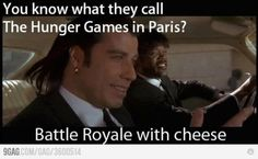 The Hunger Games explained by Pulp Fiction, So perfect lol Pulp Fiction, Science Fiction, Death Proof, Jackie Brown, Reservoir Dogs, Tribute Von Panem, Thing 1, Hunger Games, Laugh Out Loud