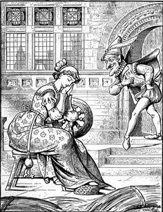 "'The Dwarf Appears' Illustration by John Moyr Smith from ""The Old Fairy Tales"", 1900. #Rumpelstiltskin #goblin"