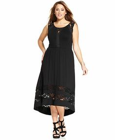 NY Collection Plus Size Sleeveless Lace Maxi Dress